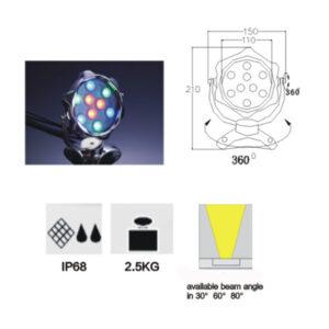 9W/12W RGB LED Underwater Light