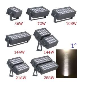 36W ~ 288W LED Floodlight Narrow Beam 1° IP66
