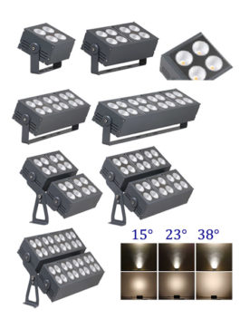 50W ~ 400W COB LED Floodlight 15°/23°/28°/45°/60° IP66