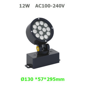 12W AC100-240V Round LED Floodlight Garden Lamp with spike or base