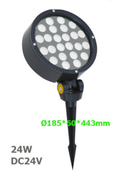 24W DC24V Round LED Garden Spot Floodlight with spike or base
