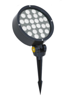 24W AC100-240V Round LED Garden Floodlight with spike or base