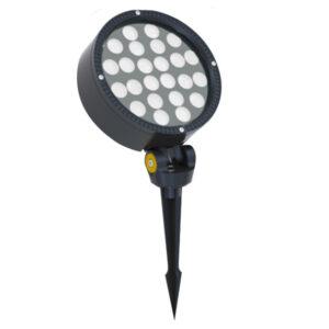 24W AC100-240V Round LED Garden Floodlight with spike or base