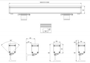 18W 24W 36W single light 36W 48W color changing RGB/RGBW dmx512 LED polarized Wall Washer IP65