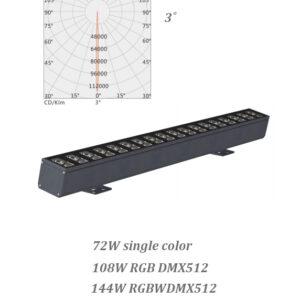 72W single light 108W 144W RGB/RGBW DMX LED Wall Washer 3˚