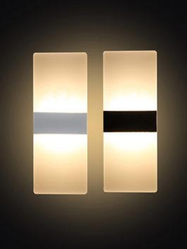 3W/4W/6W/12W Rectangle Acrylic LED Wall Light 180° IP44