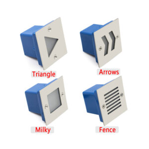 1W Square LED Staircase Step Light Milky Fence Arrows Triangle IP65