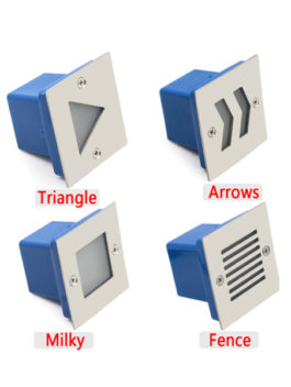 3W Square LED Staircase Step Light Milky Fence Arrows Triangle IP65
